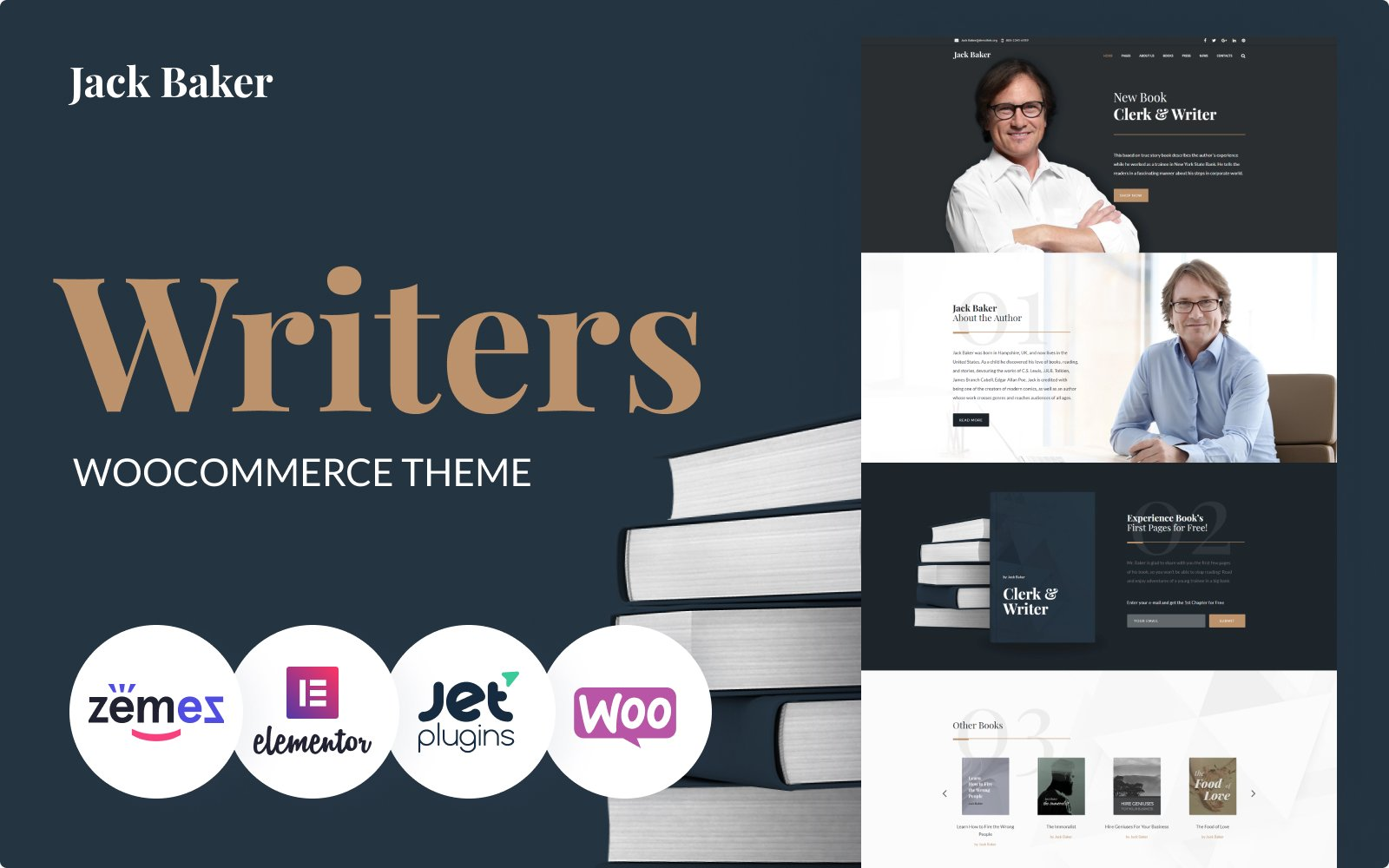"""Jack Baker - Writer Responsive WordPress Theme"" - адаптивний WordPress шаблон №64869"