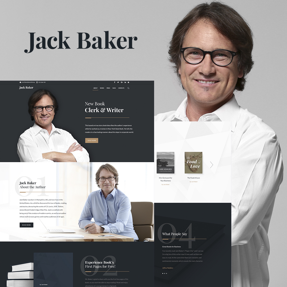 Jack Baker - Writer Responsive WordPress Theme Tema WordPress №64869