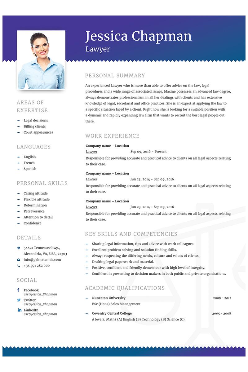 """Jessica Chapman - Lawyer CV"" 奖金简历模板 #64868"