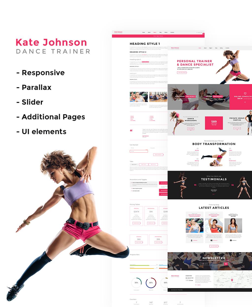 """Kate Johnson - Dance Trainer"" 响应式Joomla模板 #64899"