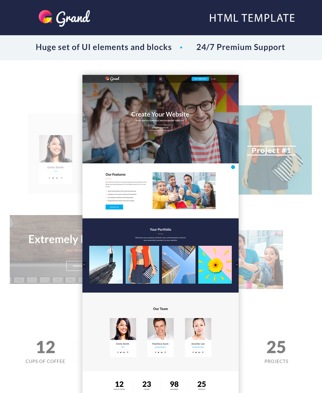 """Landing Page Template namens """"Grand - Agency"""" #64889"""