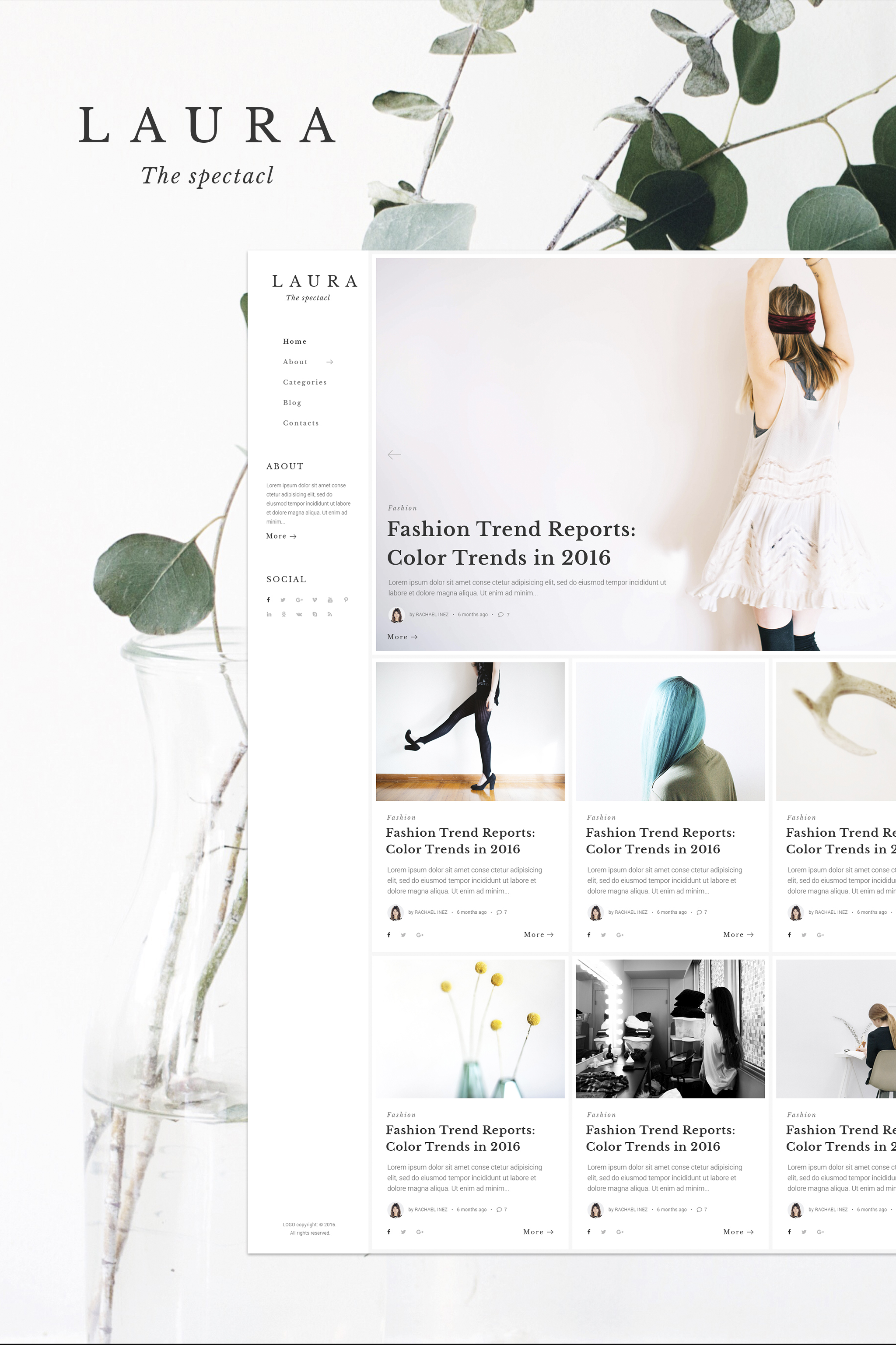 """Laura Women Fashion Blog WordPress Theme"" - адаптивний WordPress шаблон №64847"