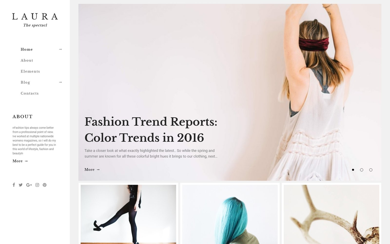 """Laura Women Fashion Blog WordPress Theme"" - WordPress шаблон №64847"