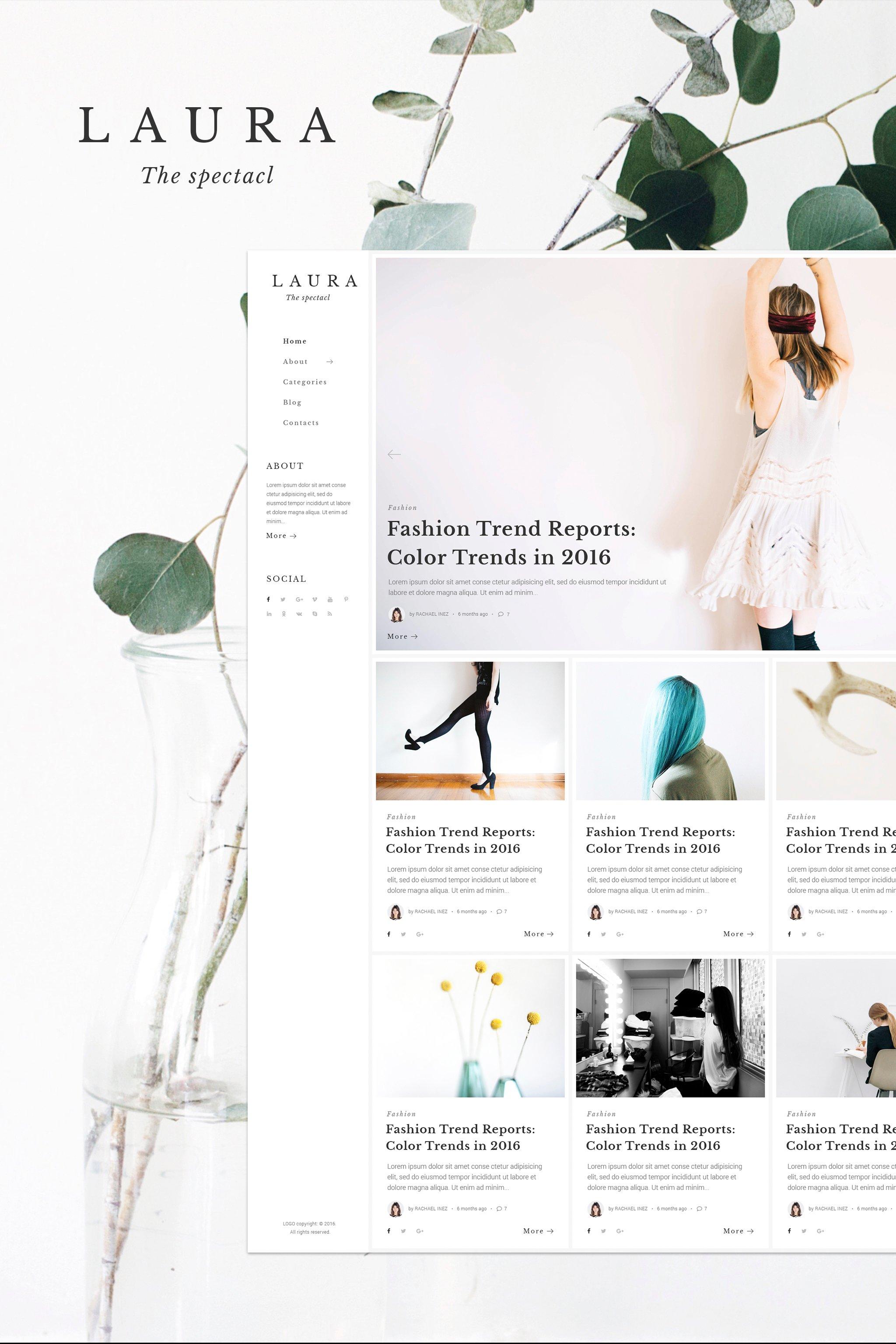 """Laura Women Fashion Blog WordPress Theme"" 响应式WordPress模板 #64847"
