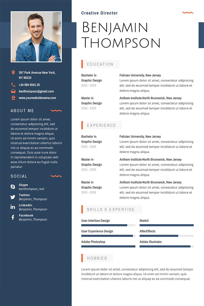 "Lebenslauf-Vorlage namens ""Benjamin Thompson - Multipurpose Elegant Resume Template"" #64872"