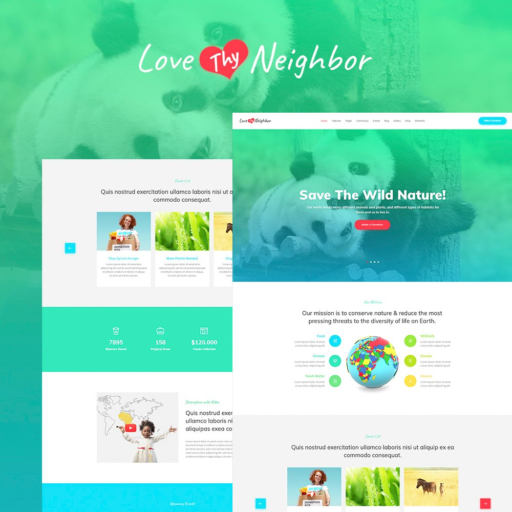 """Love Thy Neighbor WordPress Theme"" 响应式WordPress模板 #64863"