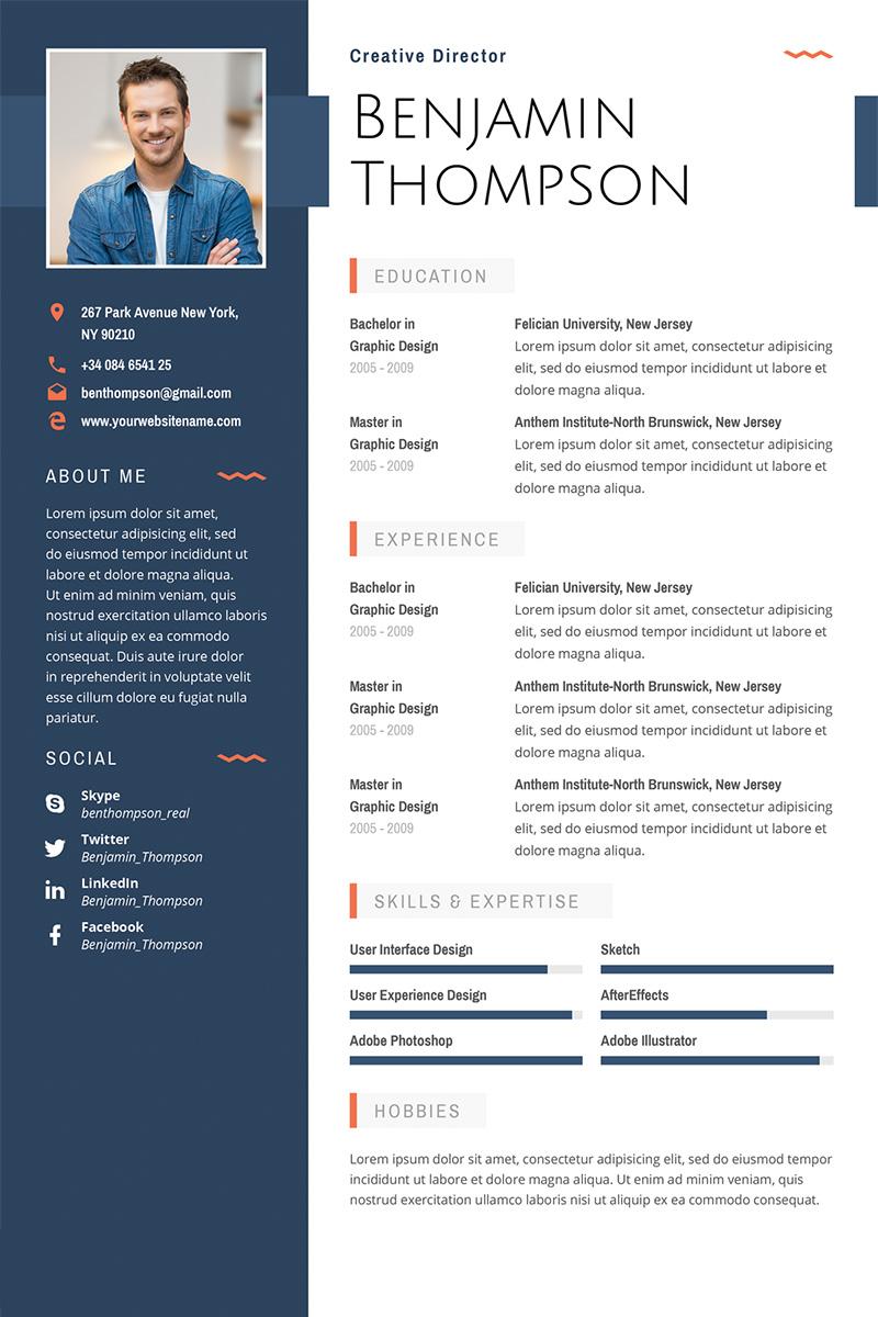 "Luxusní Šablona pro životopis ""Benjamin Thompson - Multipurpose Elegant Resume Template"" #64872 - screenshot"