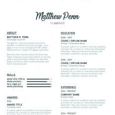 matthew penn filmmaker premium resume template. Resume Example. Resume CV Cover Letter