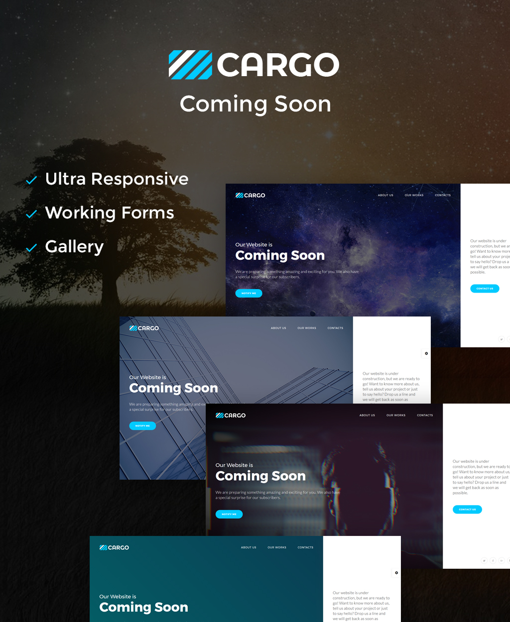 "Modello Pagina web provvisoria Responsive #64892 ""Cargo - Coming Soon HTML5"""