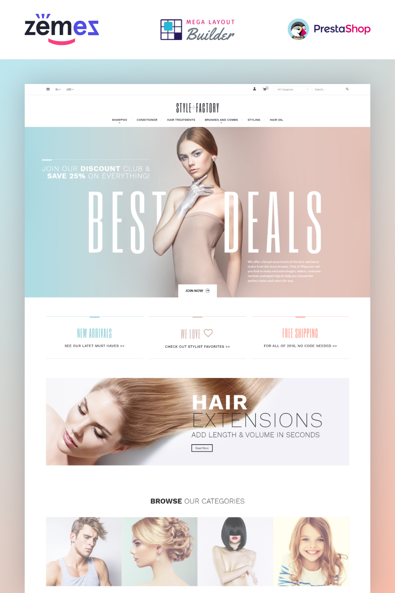"Modello PrestaShop Bootstrap #64811 ""Hair Salon Ecommerce Template - StyleFactory"""