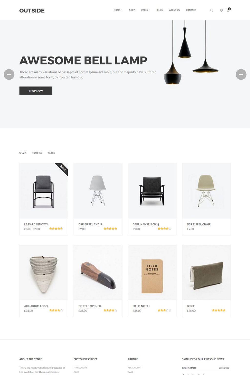 "Modello WooCommerce #64841 ""Outside - Minimalist"""