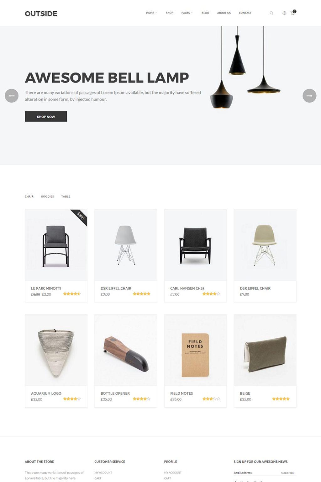 """Outside - Minimalist"" WooCommerce模板 #64841"
