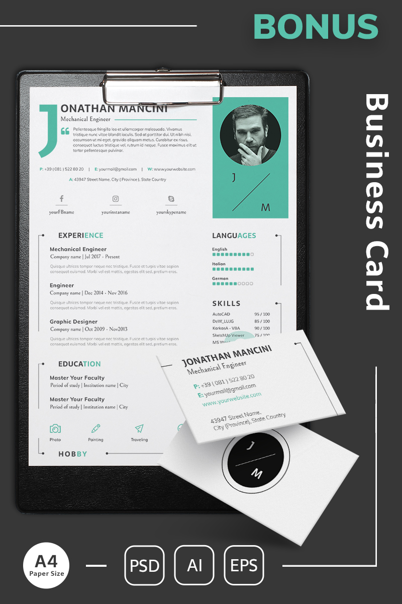 "Plantilla De CV ""Jonathan Mancini - Mechanical Engineer Resume Template"" #64871"