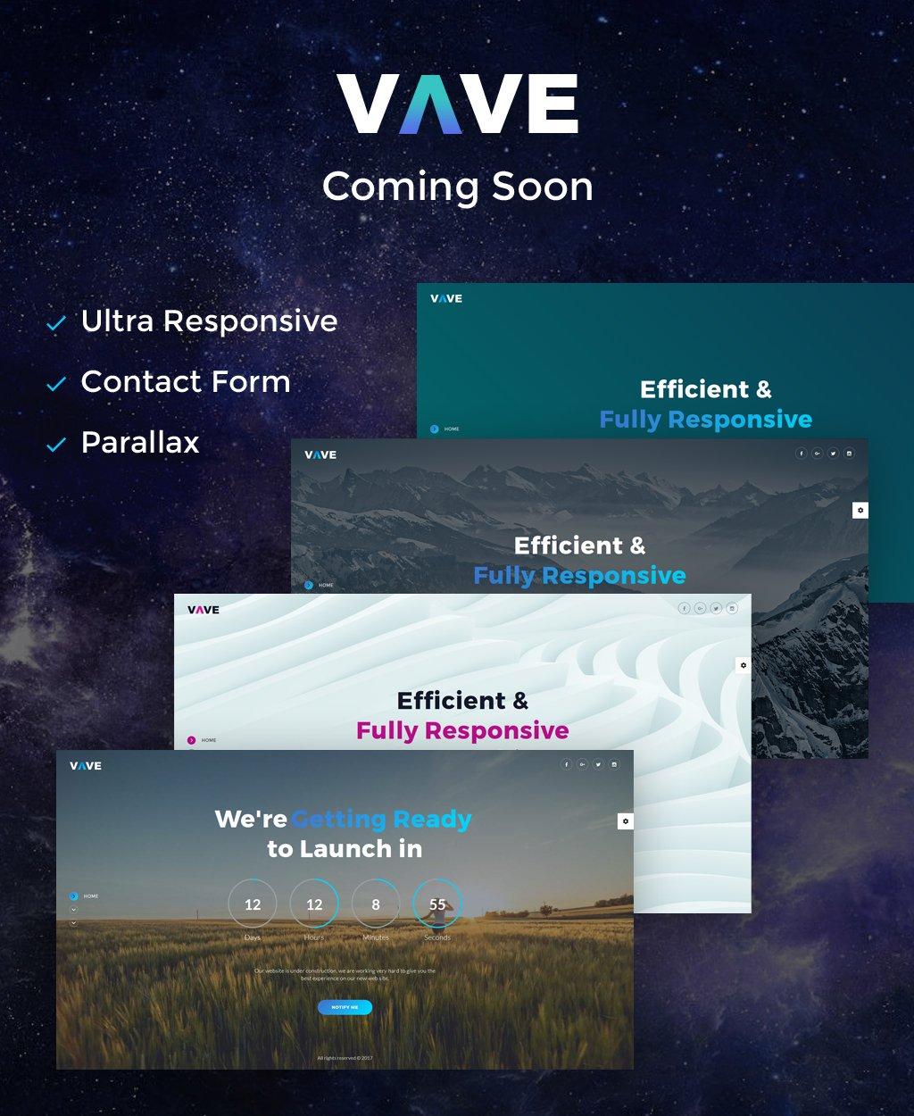 Responsive VAVE - Coming Soon HTML5 Özel Sayfaları #64893