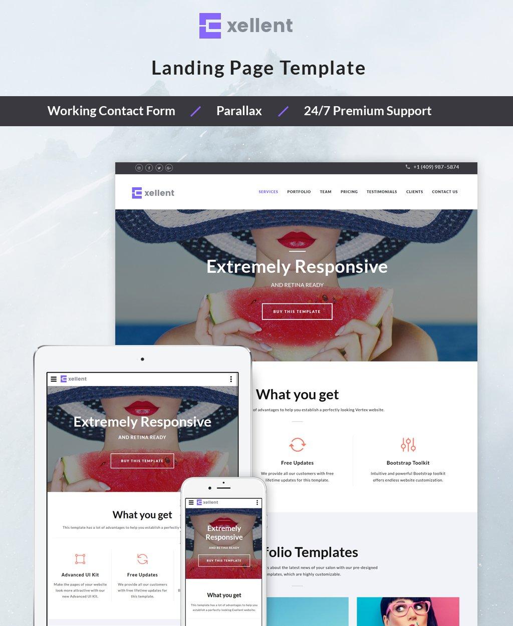Responsywny szablon Landing Page Exellent - Startup #64886 - zrzut ekranu