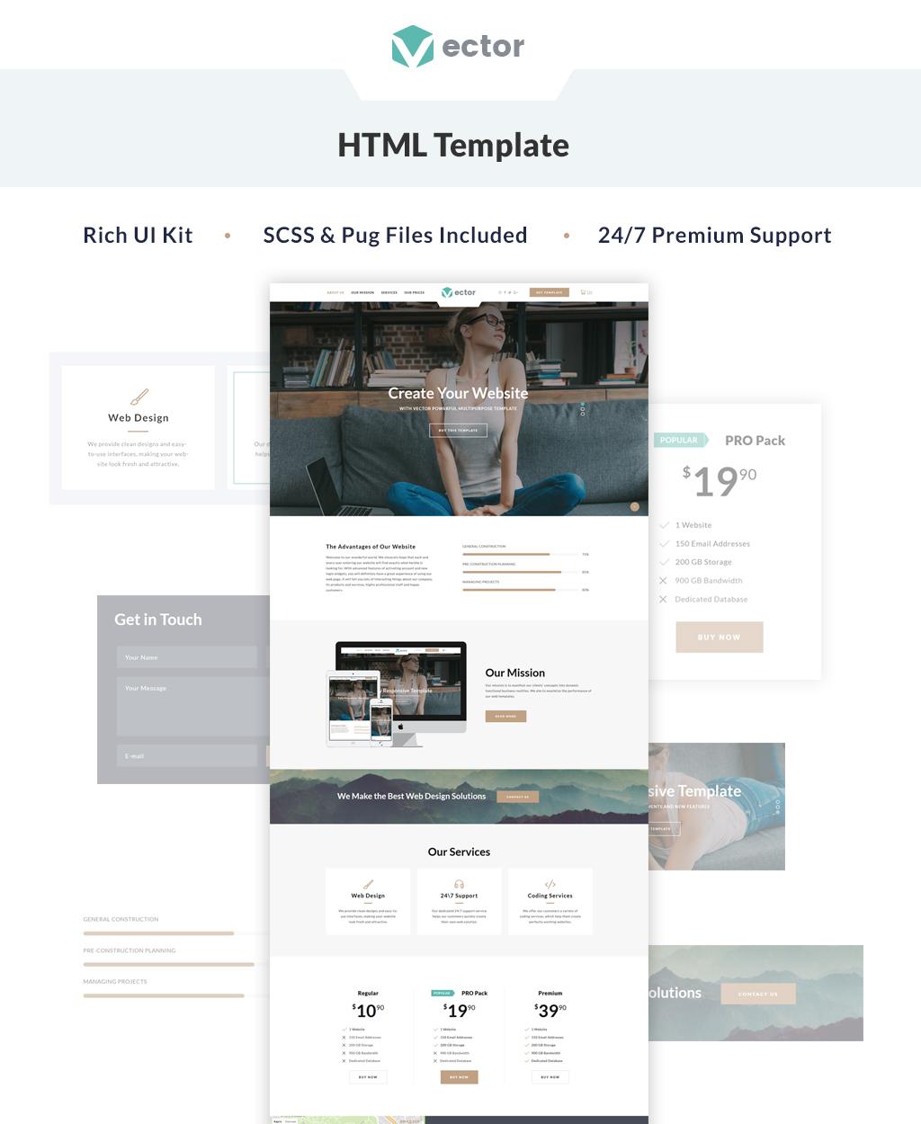 Responsywny szablon Landing Page Vector - Business #64890