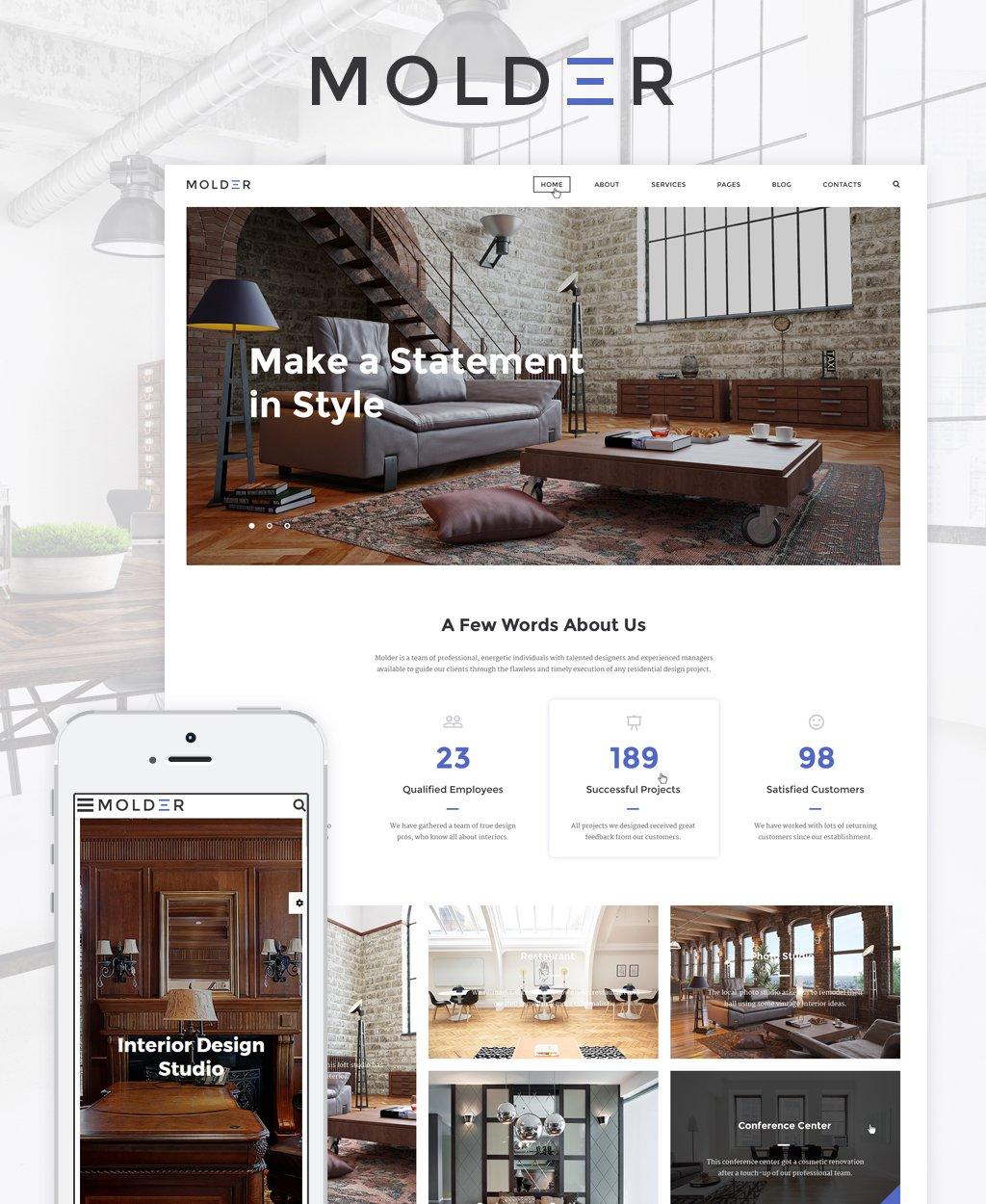 """Responzivní Šablona webových stránek """"Molder - Interior Design"""" #64844"""