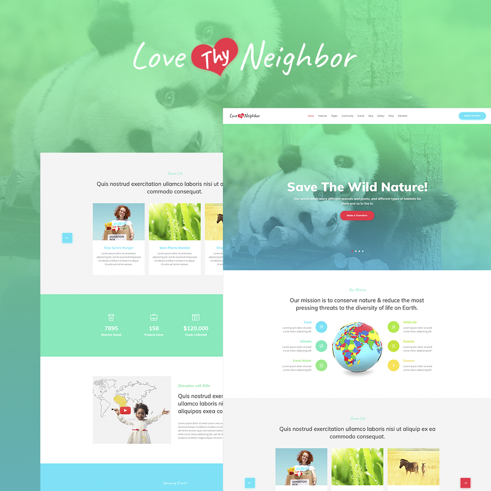 "Responzivní WordPress motiv ""Love Thy Neighbor WordPress Theme"" #64863"
