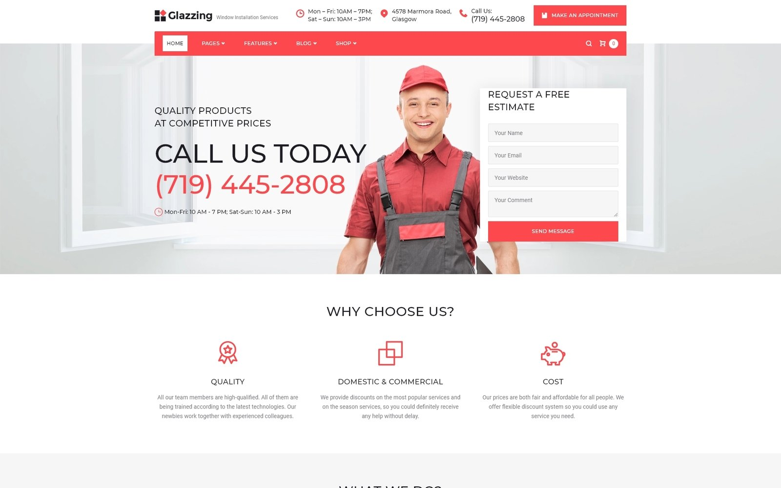 Reszponzív Glazzing - Window Installation Services WordPress Theme WordPress sablon 64813