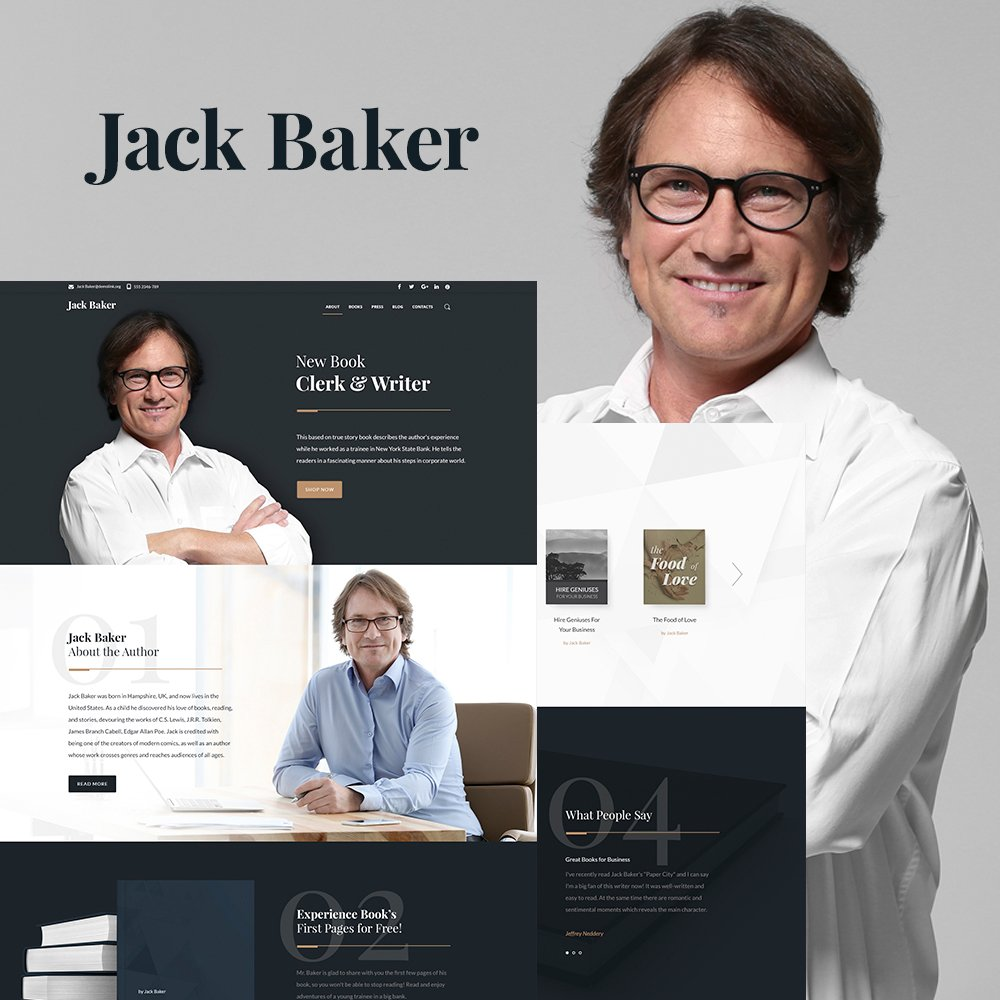 Reszponzív Jack Baker - Writer Responsive WordPress Theme WordPress sablon 64869