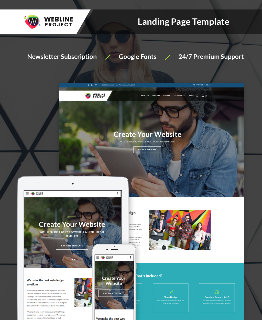 Reszponzív Webline Project - Corporate Nyítóoldal sablon 64888