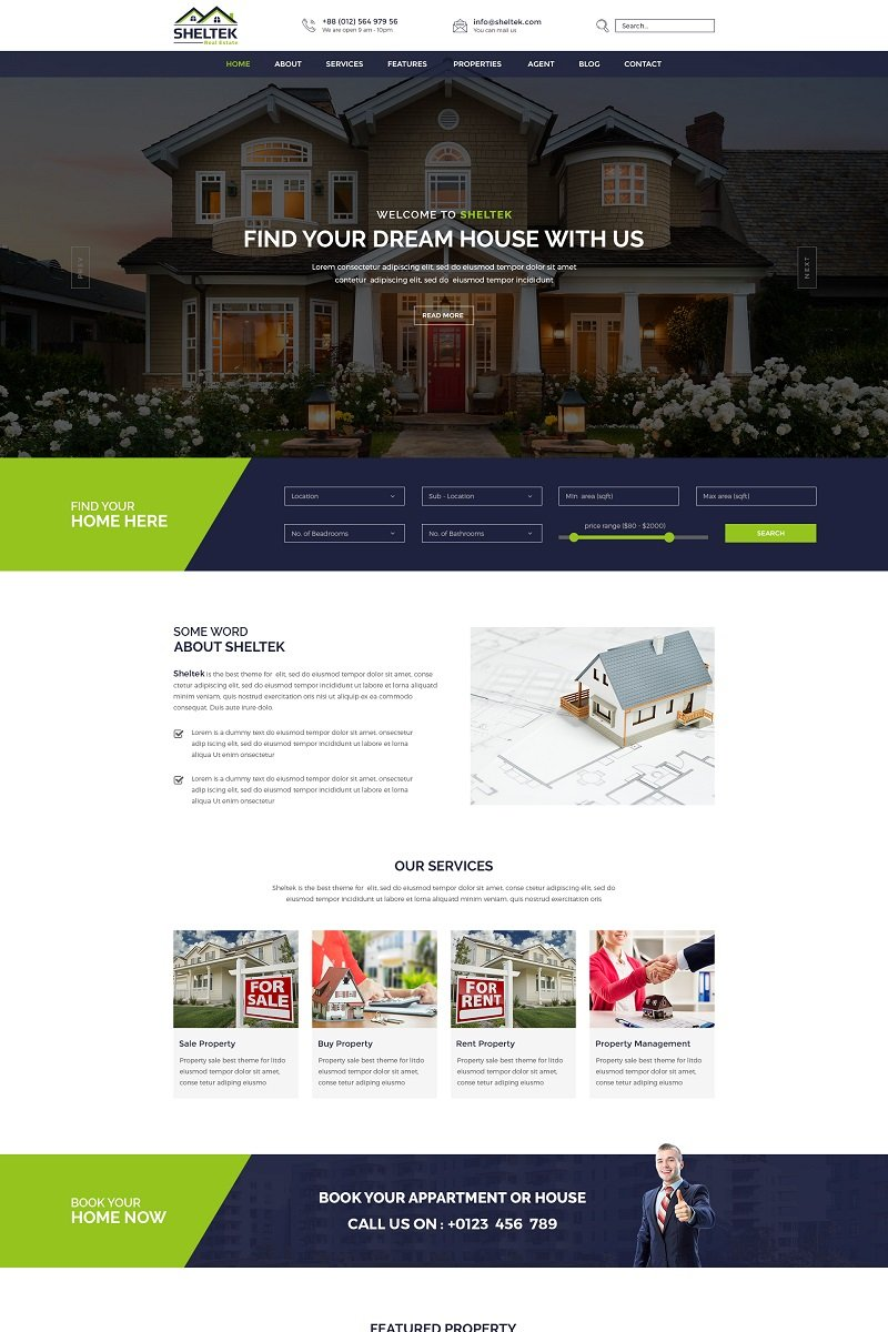 Sheltek - Real Estate Responsive Website Template - screenshot