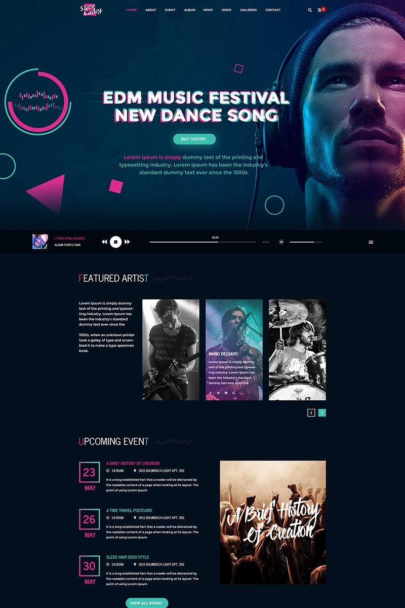 """Steve Cadey - Modern & Stylish Music Event"" PSD Template №64851"
