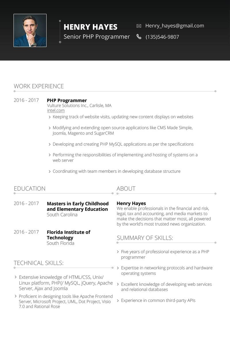Szablon resume Henry Hayes - Web Developer #64898 - zrzut ekranu