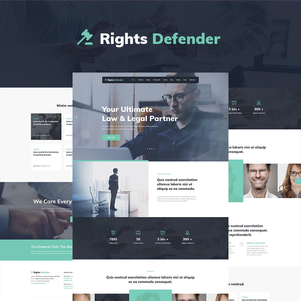 "Tema WordPress Responsive #64848 ""Rights Defender - Lawyer WordPress Theme"""