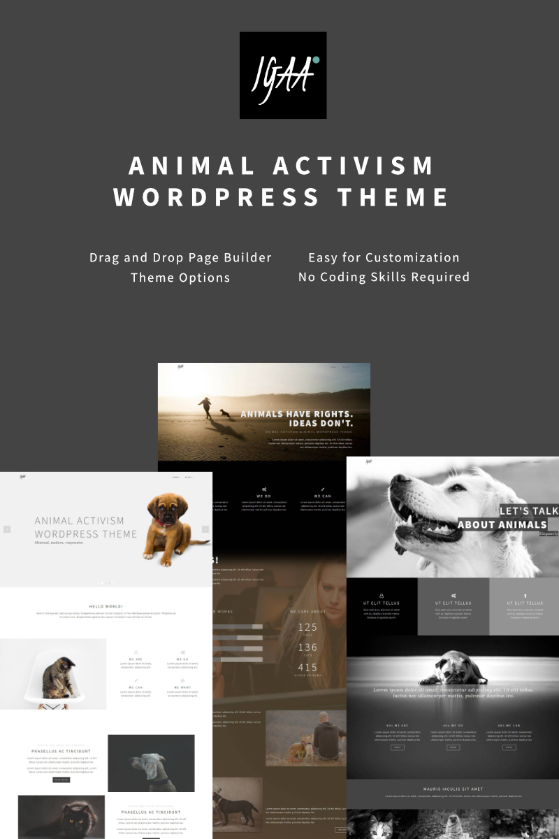 "Tema WordPress Responsive #64875 ""Igaa - Animal Activism"" - screenshot"