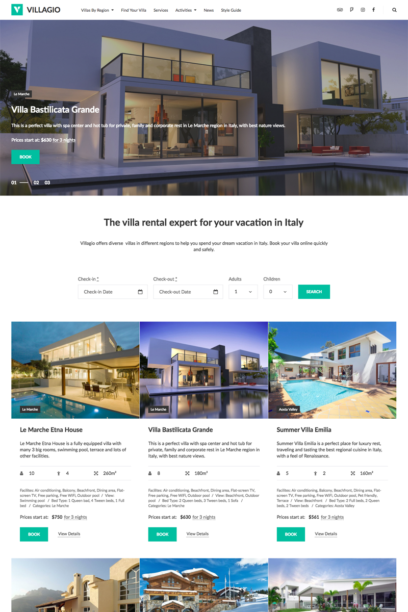"Template WordPress #64831 ""Vilagio - Property Booking"""