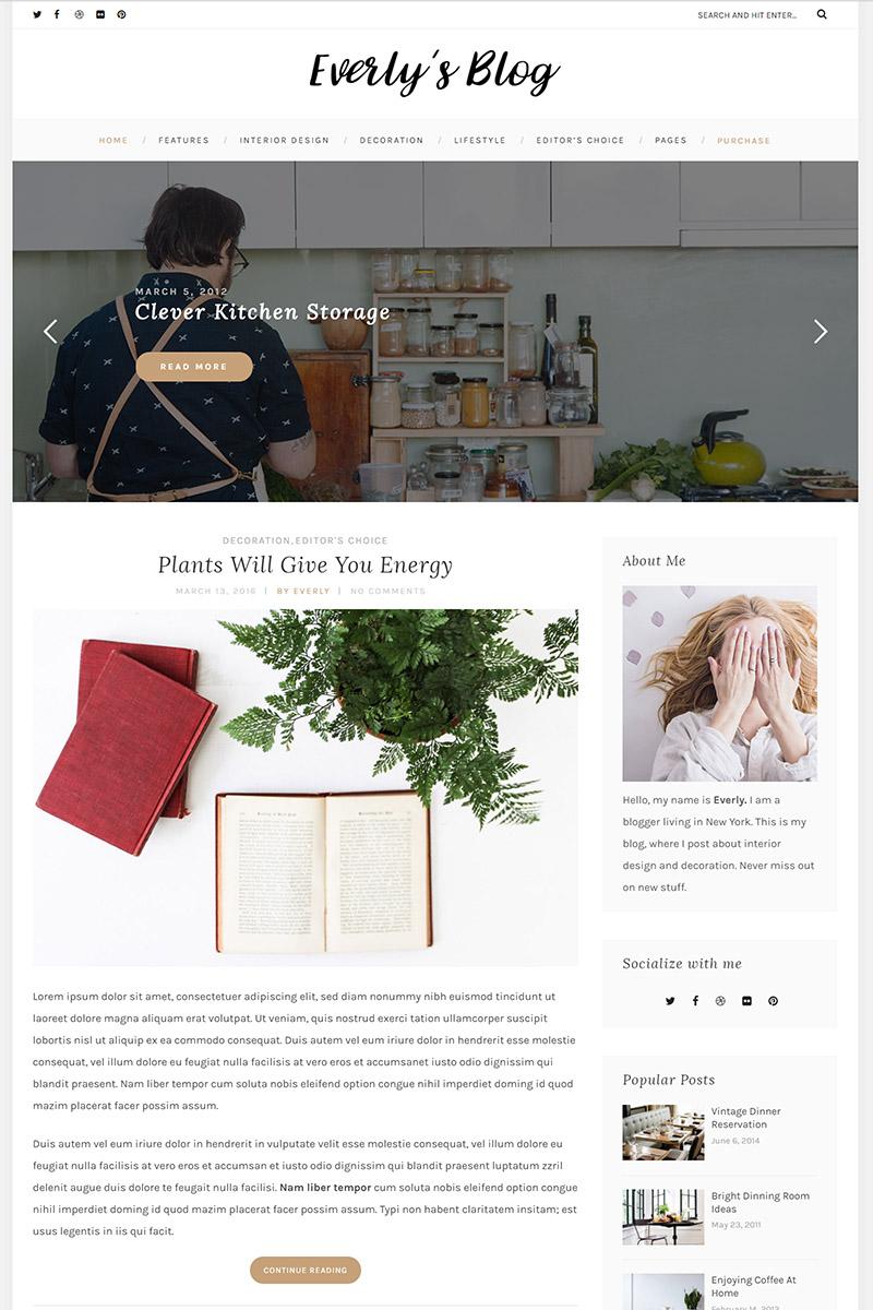 "Template WordPress Responsive #64879 ""Everly - Hipster Blog"""