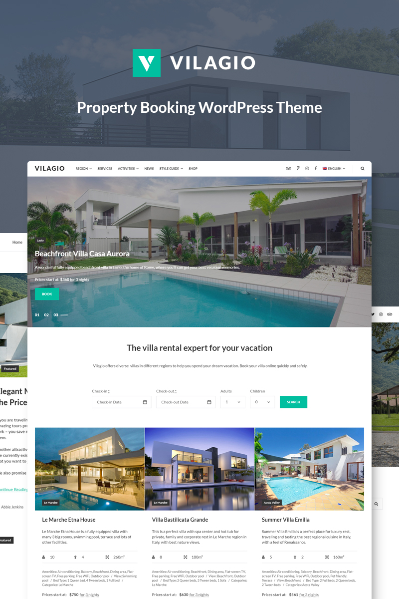 Vilagio - Property Booking WordPress Theme - screenshot
