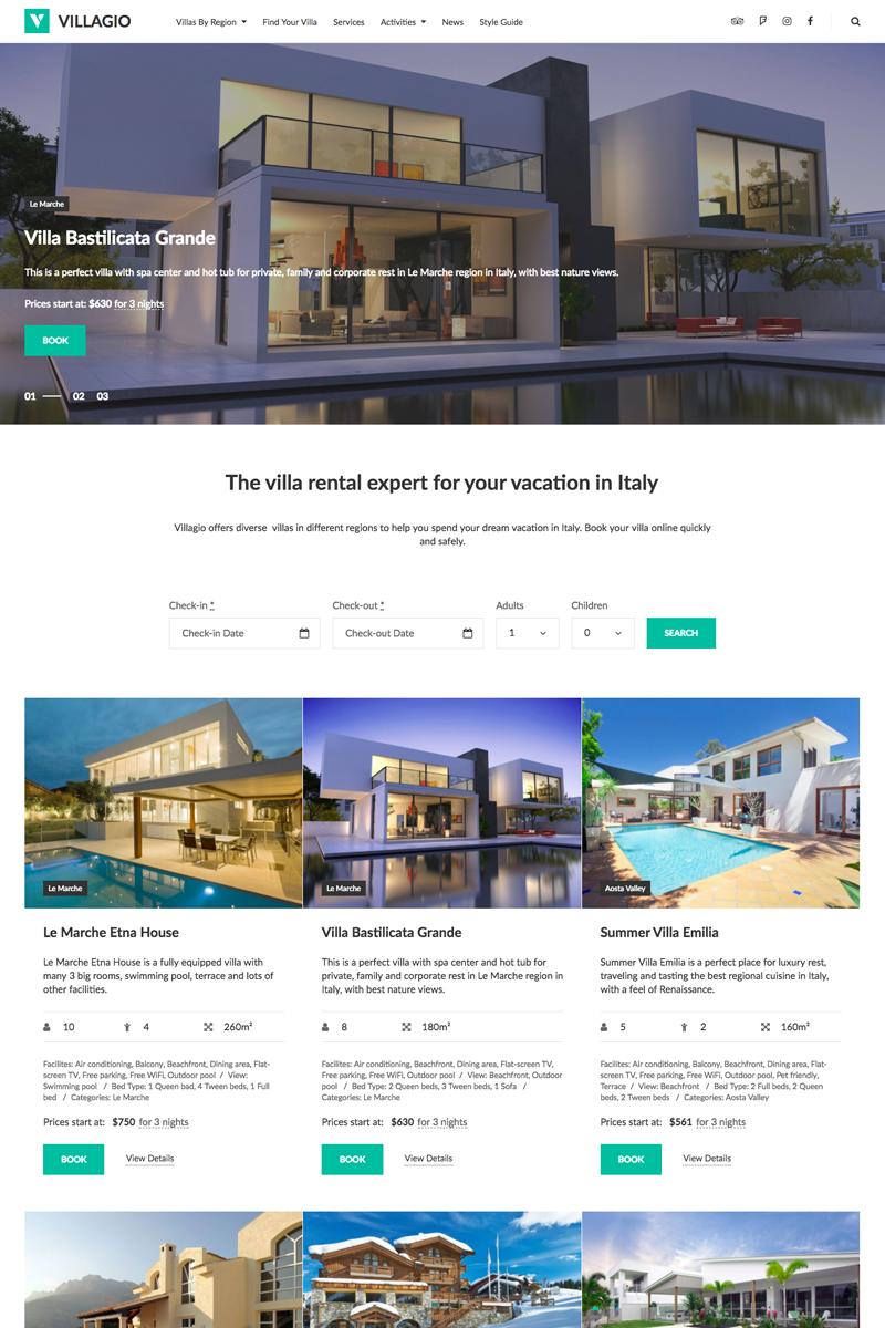 """Vilagio - Property Booking"" WPML Ready WordPress thema №64831"