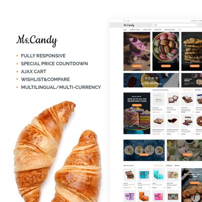 Адаптивный OpenCart шаблон №64990 на тему магазин сладостей