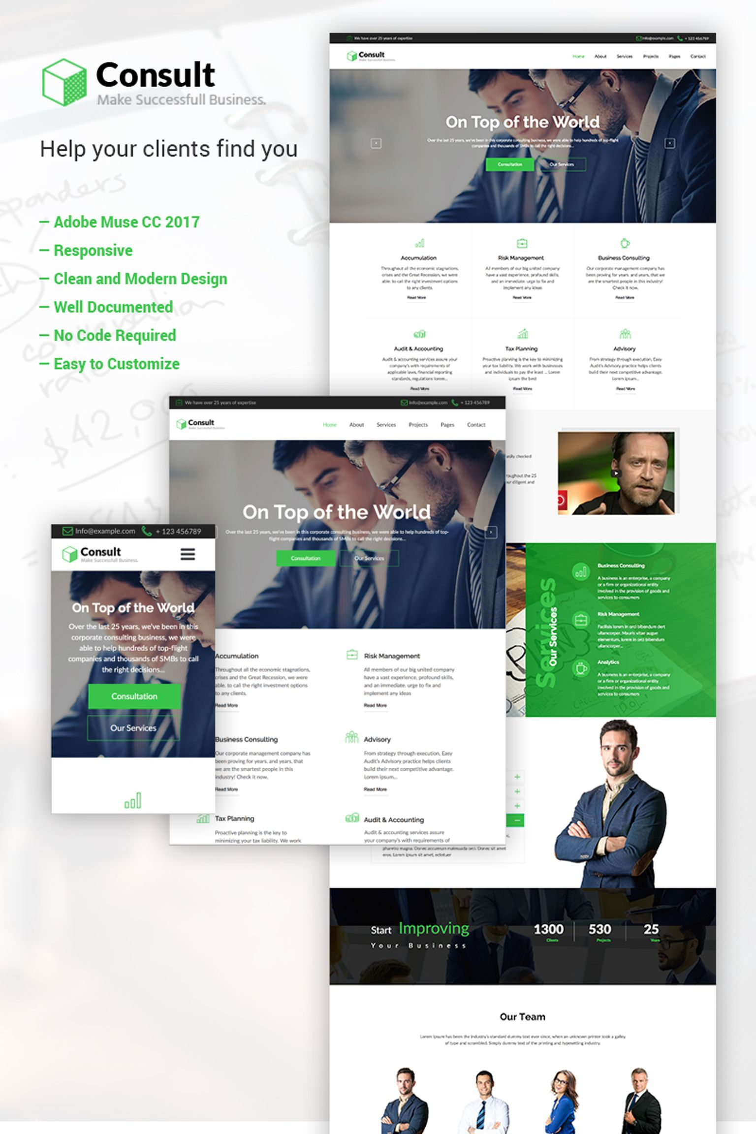 """""""Consult - Business Consulting Adobe CC 2017"""" Responsive Muse Template №64982"""