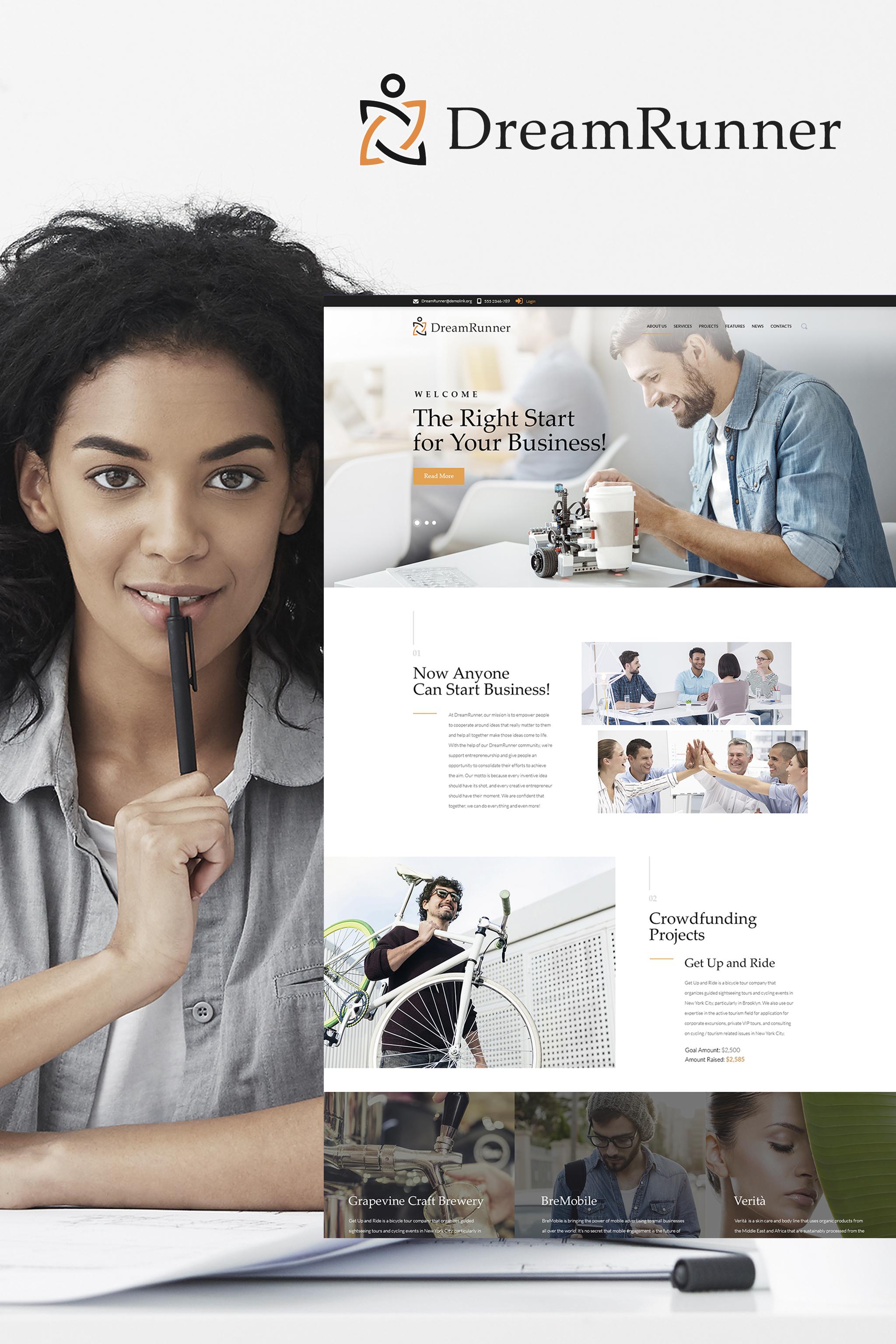 """""""DreamRunner - Modèle WordPress Responsive pour Agence Startup"""" thème WordPress adaptatif #64994"""