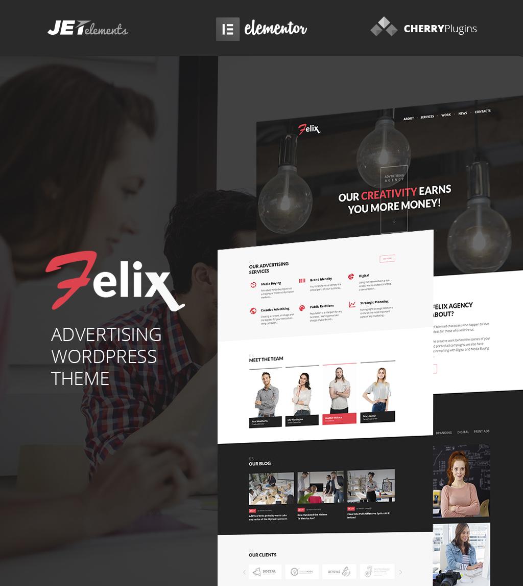 """Felix Advertising Agency WordPress Theme"" Responsive WordPress thema №64921"