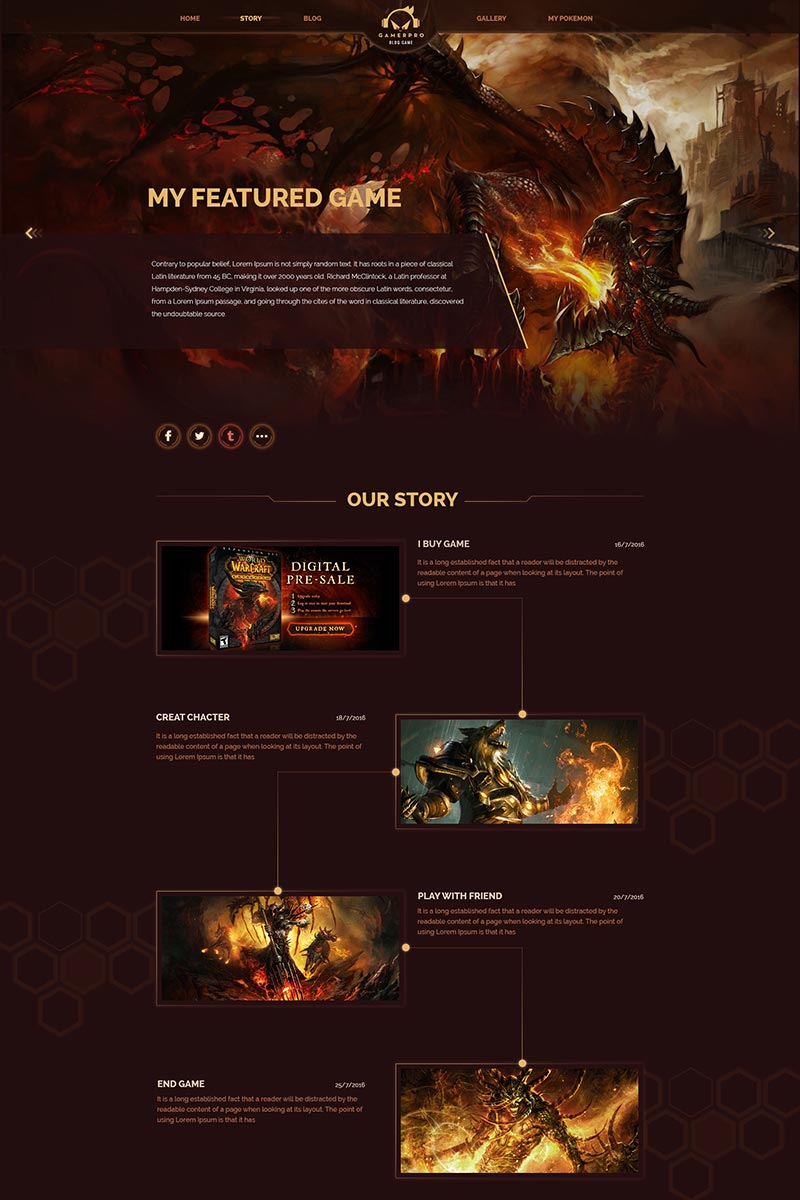 """Gamepro - Fantastic Blog PSD Template for GAME SITES"" PSD Template №64985"