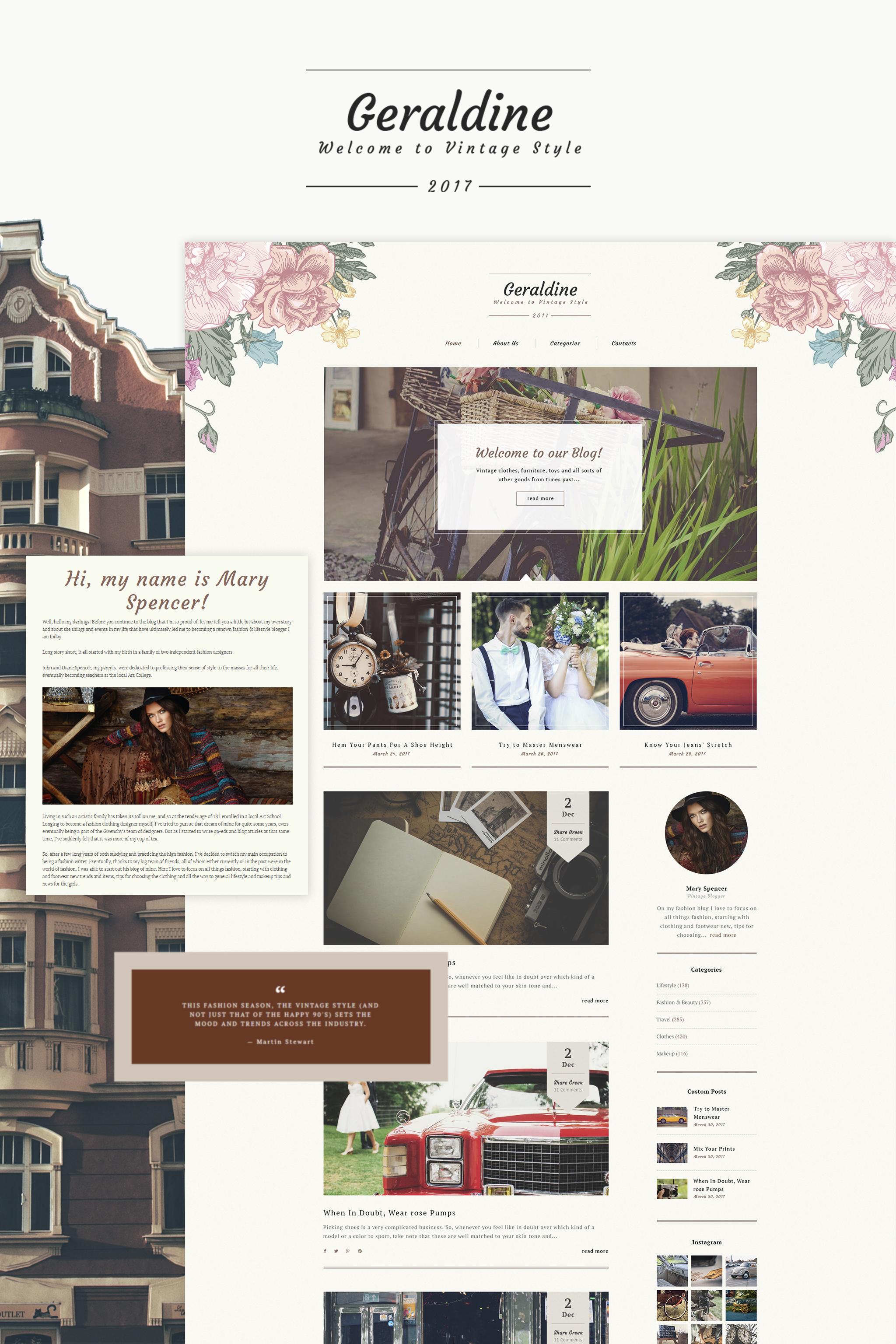 """Geraldine - Vintage & Retro Blog"" Responsive WordPress thema №64996"