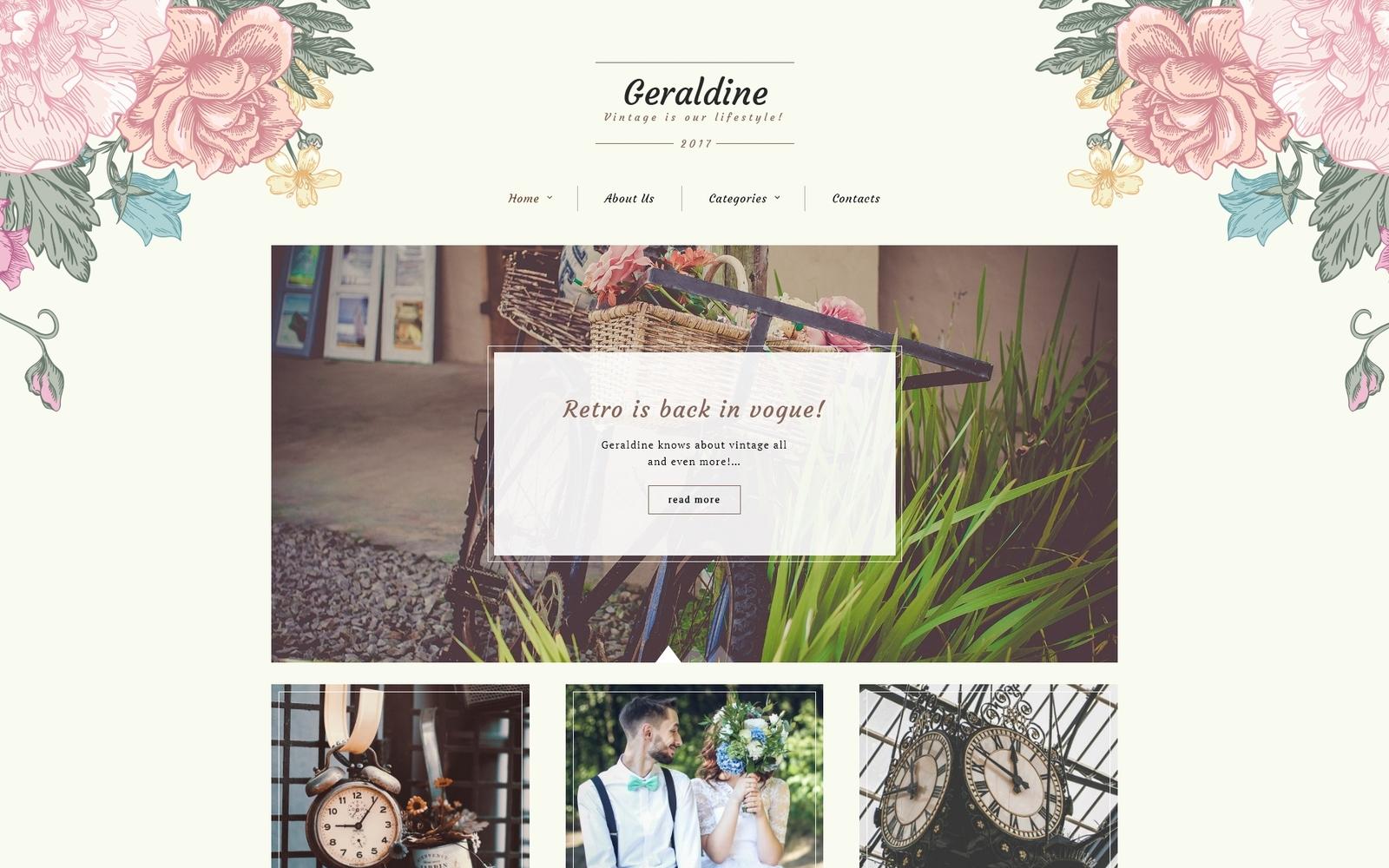 """Geraldine - Vintage & Retro Blog"" - WordPress шаблон №64996"