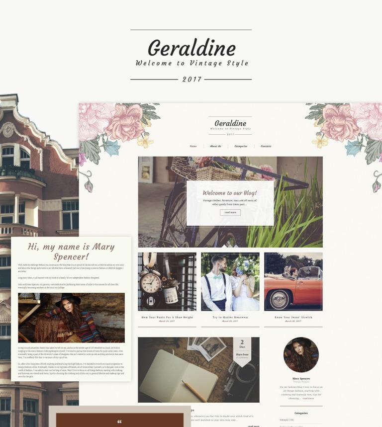 geraldine vintage retro blog wordpress theme smartphone layout 1