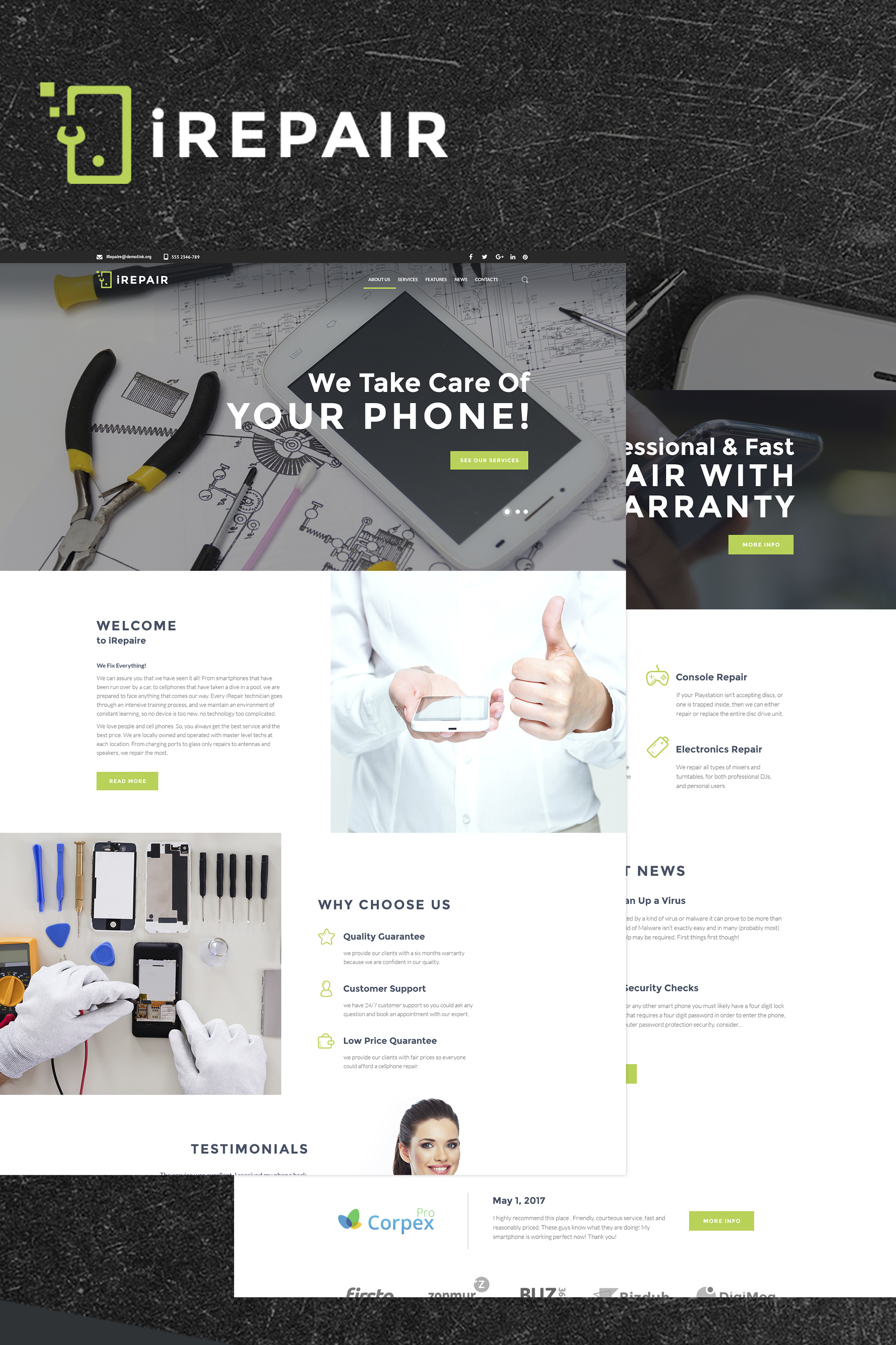 """IRepair - Electronics Repair WordPress Theme"" - адаптивний WordPress шаблон №64920"