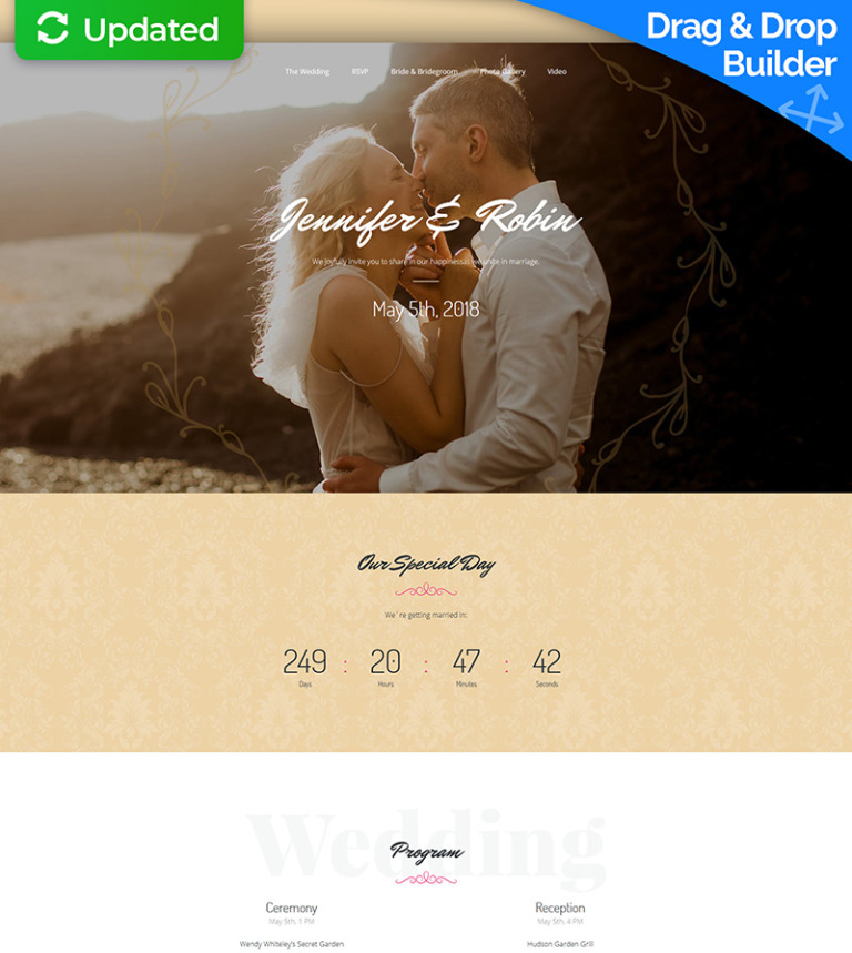 wedding planner responsive landing page template 64956
