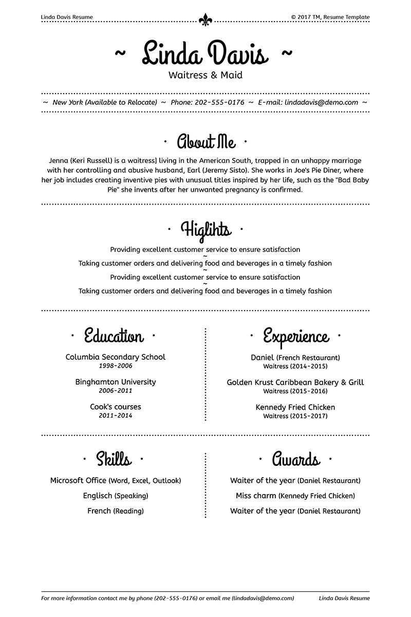 Linda Davis Waitress Amp Maid Resume Template 64934