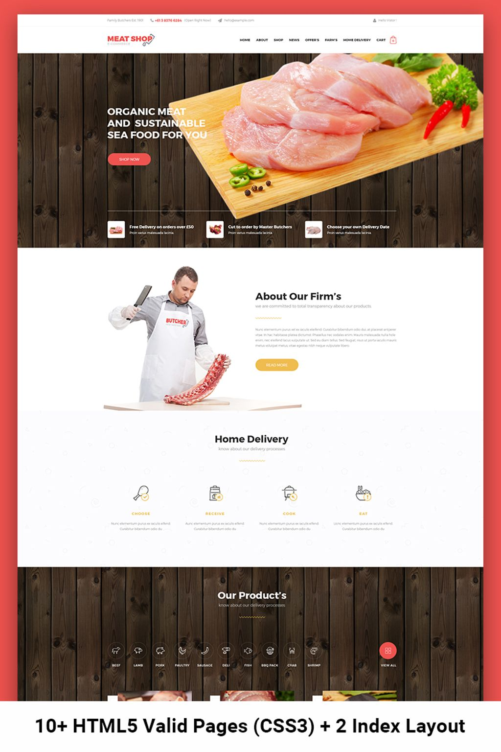 Meat Shop eCommerce Website Template - screenshot