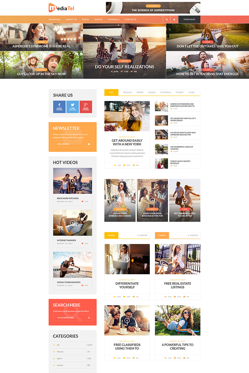 MediaTel - Online Magazine PSD Template - screenshot