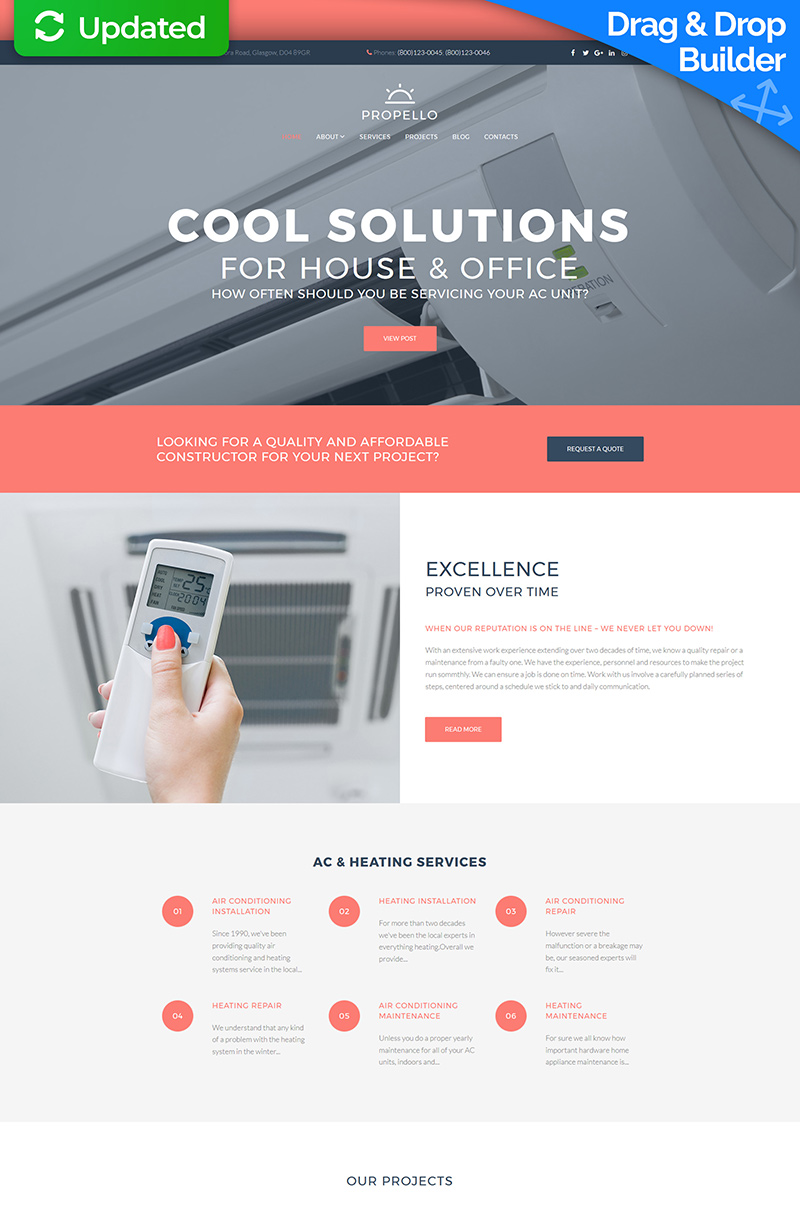 Responsive Moto CMS 3 Template over Airconditioning №64975