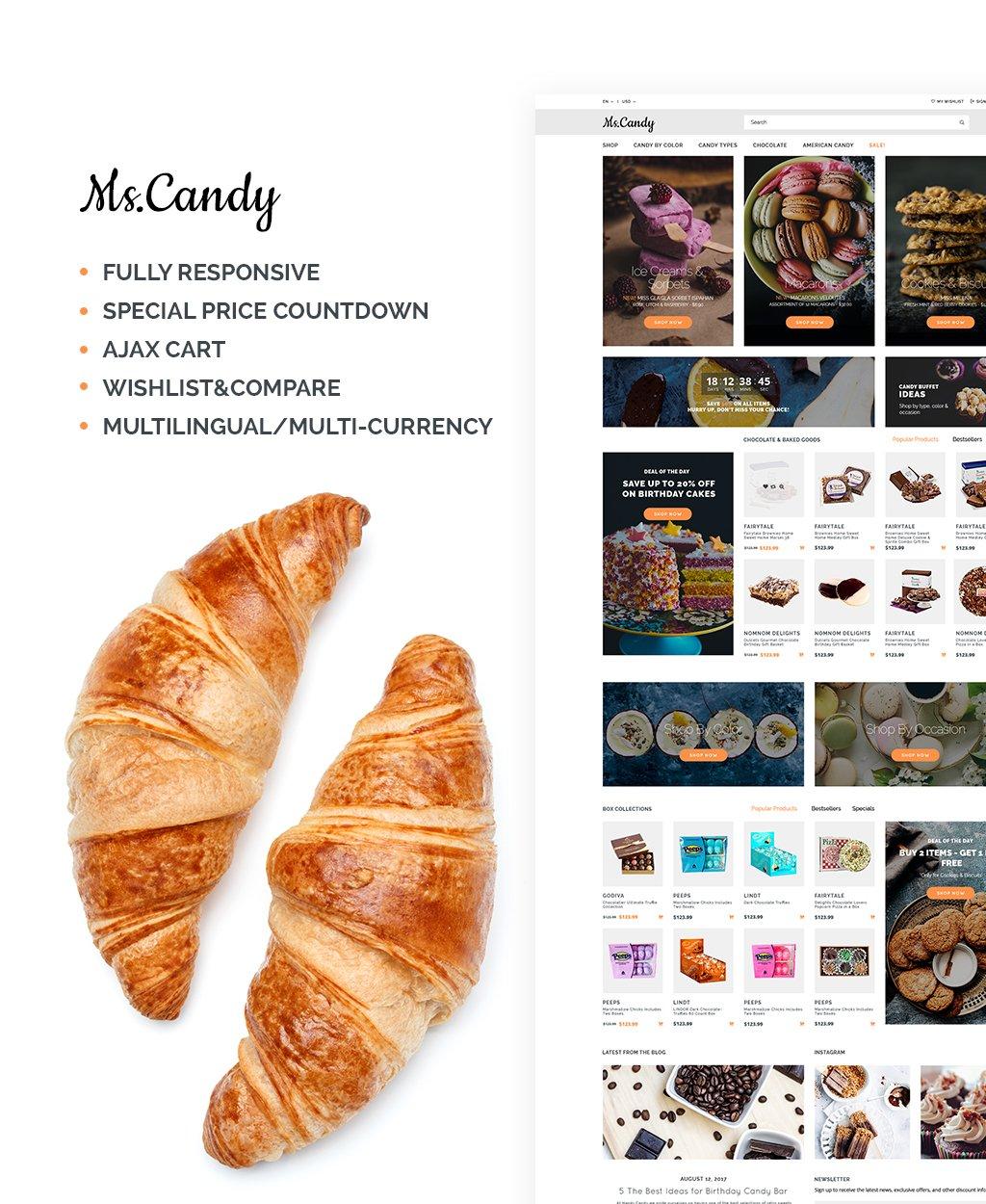 Responsive Tatlı Dükkanı Opencart #64990 - Ekran resmi