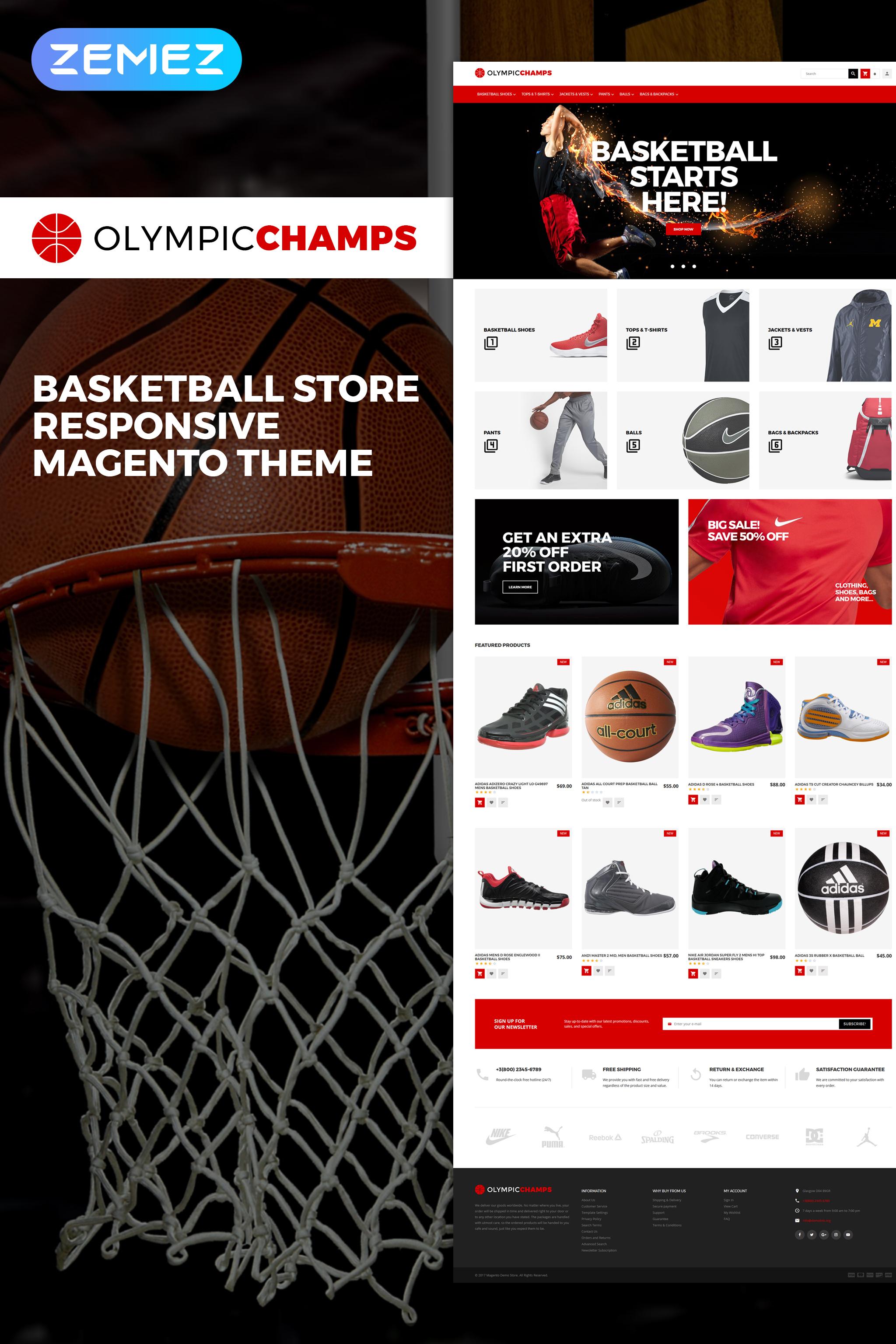 Responsywny szablon Magento OlympicChamps - Basketball Store #64903